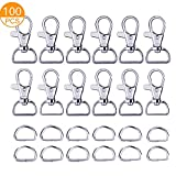 "100PCS Premium Swivel Snap Hooks and D Rings, Swivel Snap Hooks for Keychain and Sewing Project(3/4""Inside Width)"