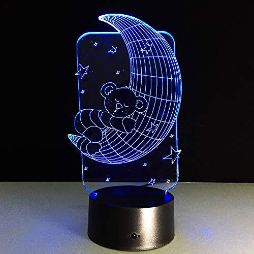 Preisvergleich Produktbild Xiujie Mond Bär Licht 3D Illusion Holographische Vision Led Nachtlicht Touch Usb Uhr Baby Schlaf 7 Farbe Nachtlicht Kind Und Mädchen Geschenk