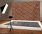 Fondo de vinilo para fotografía de 15 x 10 pies, diseño floral antiguo con diseño de arte árabe y adornos antiguos para fondo de fotografía de estudio y fotografía