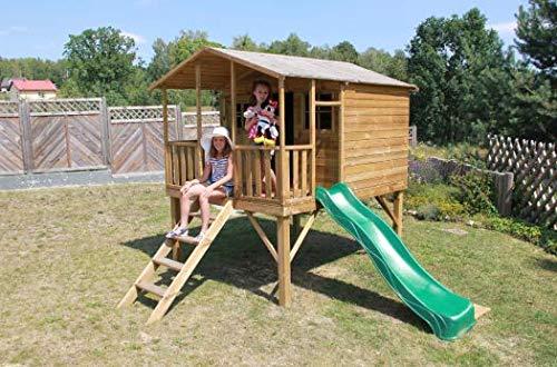 Spielhaus Kinderspielhaus Holz-Gartenhaus für Kinder Spielhütte aus Holz für Kinder mit Rutsche - (3997)