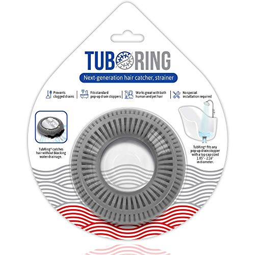 TubRing The Ultimate Tub Drain Protector Hair Catcher/Strainer/Snare, Regular - Grey
