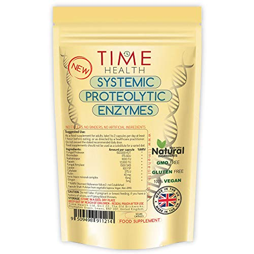 Systemic Proteolytic Enzymes Complex – Repair & Recovery – Mixed Enzyme Formula with Ginger & Ionic Trace Minerals – UK Made – Zero Additives – Pullulan (120 Capsule Pouch)