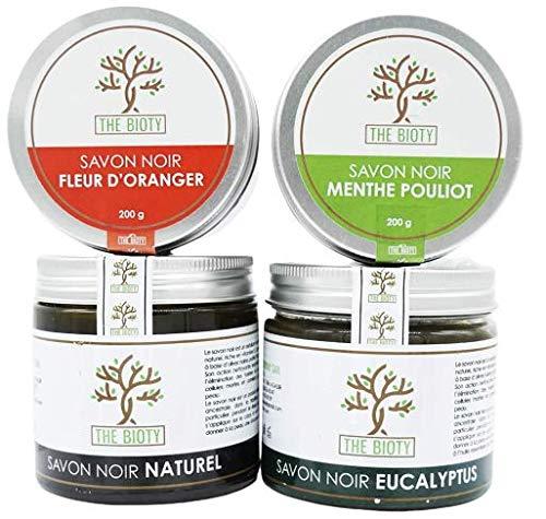 Savon Noir Traditionnel pour Hammam et Gommage Exfoliant Naturel du Maroc - Pot de 200 G (200g) : 4 Parfums (Eucalyptus)