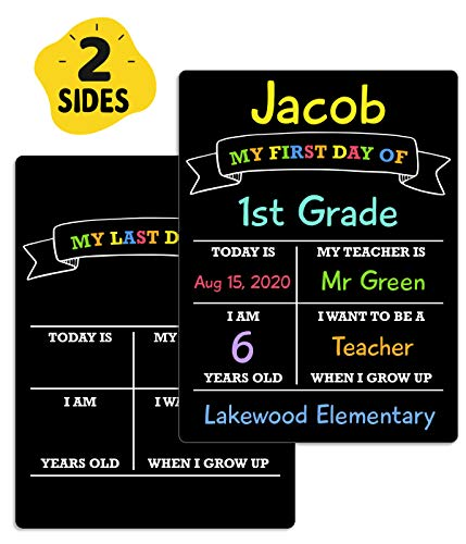 First Day and Last Day of School Board, 12″x8.5″ PVC Plastic Chalkboard Style Photo Prop Sign (Double Sided), Wet Erase, Flexible and Reusable, 1st Day of School Sign, Back to School Sign