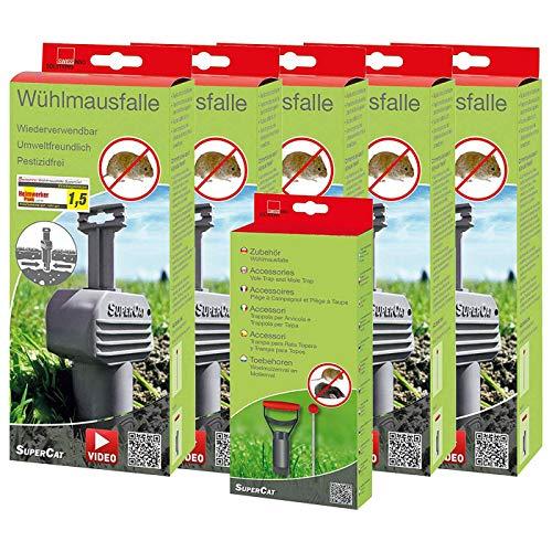 SWISSINNO 5er Set: 4x Wühlmausfalle SuperCat plus 1x Zubehörset Lochfinder und Lochstanze, Wühlmausabwehr-Set, Set by Danto®