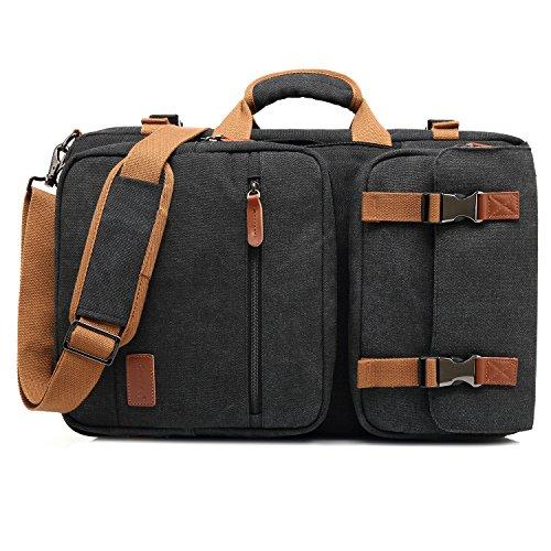 CoolBELL 15,6 Zoll umwandelbar Aktentasche Rucksack Messenger Bag Mehrzweck Reiserucksack Herren Umhängetasche Schultertasche Business Travel Backpack Laptoptasche Notebooktasche(Canvas Schwarz)