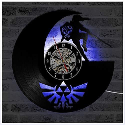 """ZhangXF Legend of LED Leuchtende Schallplatten Wanduhr, 12\"""" Retro Lp Hintergrundbeleuchtung Moderne Manuelle Kunst Dekoration Nachtlicht Uhr Sieben Farben"""