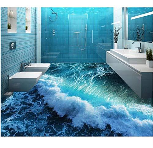 Suelos 3d a prueba de agua mural wallpape Olas de verano piso 3d papel tapiz estereoscópico pvc plástico alfombra rollo piso 3d-350X250CM