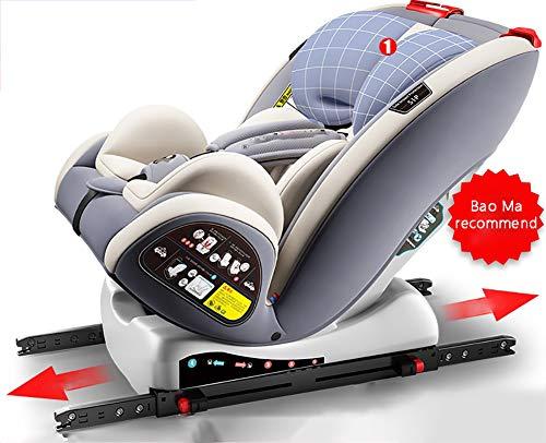 WWLONG Cómodo Asiento de automóvil para niño/niño, Dos interfaces ISOfix + Latch Tres, 0-12 años Pueden Sentarse y reclinarse-Grey