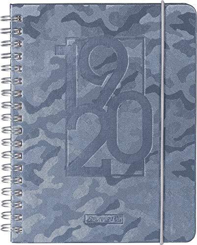 """BRUNNEN 1072966070 """"Camouflage"""" , Schülerkalender/Wochenkalender 2019/2020 , 2 Seiten = 1 Woche , Blattgröße 12 x 16 cm , A6 , PU-Einband , grau"""