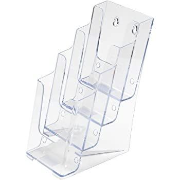 """SourceOne Brochures Holder for 4"""" Trifold Booklets – 4-Tier – Clear Acrylic Countertop Organizer"""