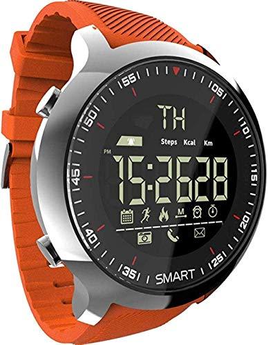 Reloj Inteligente Deportivo LCD Impermeable Podómetros Mensaje Recordatorio BT Al Aire Libre Natación Hombres Reloj Inteligente Cronómetro para iOS Android-Verde-Naranja