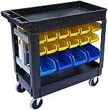 JEGS 81436 Heavy-Duty Utility Cart with 32 Storage Bins 550 lb. Capacity