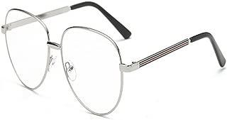 AiweijiaComputer Glasses Clear Lens Round Metal Frame Reading Glasses Decor Fashion Retro Eyewear Eyeglasses