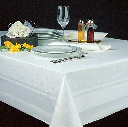 TextilDepot24 Mantel de damasco en color blanco con borde de raso y lunares (130 x 170 cm)