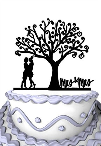 Meijiafei Wedding Cake Topper - Lesbian Together Under the Tree Silhouette with Script Mrs & Mrs Party Decoration