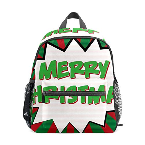 School Backpack for Kid Girls Boys,Student Bookbag Casual Daypack Travel Children Bag Organizer for Camping Hiking Gift Comic Style Merry Christmas