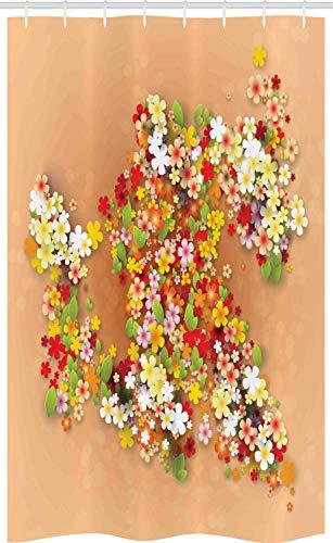 ABAKUHAUS Bloemen Douchegordijn, Summer Sale Banner Art, voor Douchecabine Stoffen Badkamer Decoratie Set met Ophangringen, 120 x 180 cm, Oranje Rood en Wit