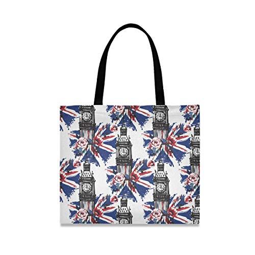 Big Ben - Bolsa de lona para mujer, grande, reutilizable, con bolsillo interior, bolsa de compras, para gimnasio, playa, viajes al aire libre