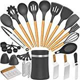 39pcs Silicone Cooking Utensils Kitchen Utensil, AIKKIL Non-stick Kitchen Cooking Utensil Spatula Set with Holder, Heat Resistant Wooden Handle Kitchen Gadgets Tool Set for Nonstick Cookware(Grey)