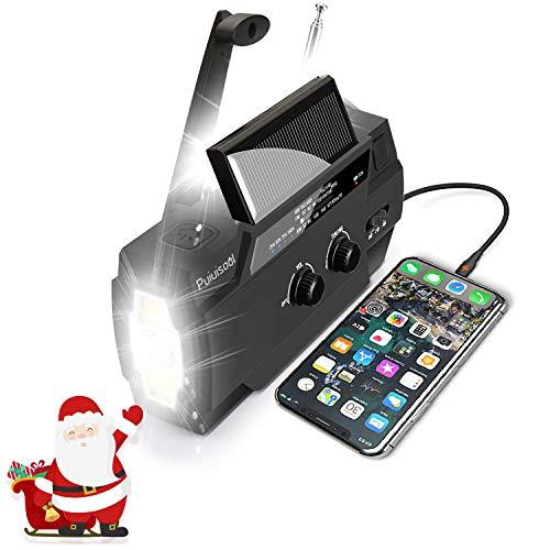 [2020 New Version] Emergency-Hand-Crank-Radio,4000mAh Portable Weather Solar Radios with Motion Sensor Reading Lamp,3 Gear LED Flashlight,SOS Alarm,Cell Phone Charger,AM/FM/NOAA (Black)