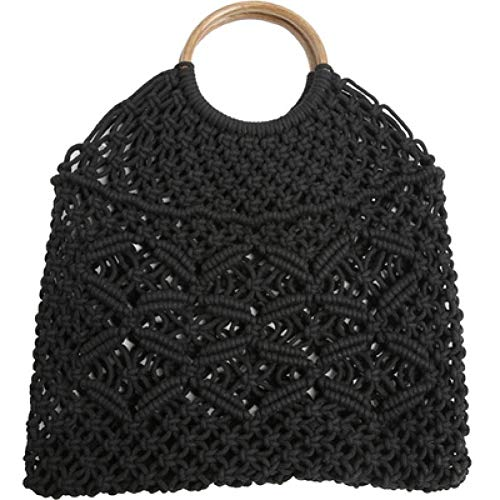 Baumwollseil Hollow Straw Bag Sheer Makramee Tote Holzring Rattan Griff Net Bag Vintage Retro Chic Handtasche