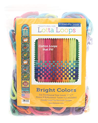 """Harrisville Designs Friendly Loom Lotta Loops 7"""""""" Traditional Size Bright Cotton Loops Makes 8 Potholders, Weaving, Crafts for Kids and Adults, Original Version (F557B)"""