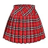 Doble capa de las mujeres genéticos elástico falda plisada