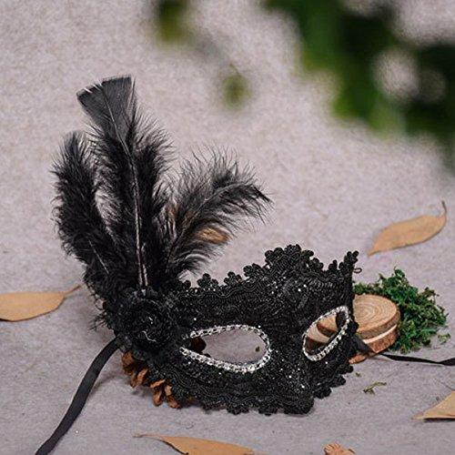 Veewon Mode venezianischen Gesichtsmaske Feder Dekoration Frauen Maskerade Masken für Halloween, Maskerade, Kostüm Party (Schwarz)