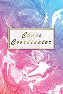 Chaos Coordinator: College Ruled Notebook & Journal for Students, Girls & Women - Blank Medium Lined Diary for School, College & Everyday Notes - Pretty Liquid Marble Fantasy