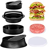 Claspme Burger Press with 70 Wax Paper Sheets - 3 in 1 Nonstick Hamburger Patty Maker for Perfect Round & Delicious Stuffed Burgers