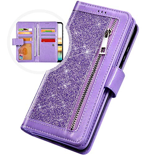 PHEZEN Case for Samsung Galaxy A20 / A30 Wallet Case,Sparkle Bling Glitter PU Leather Magnetic Flip Folio Protective Case Multi-Function 9 Credit Card Holders with Zipper Coins Purse Cover,Purple