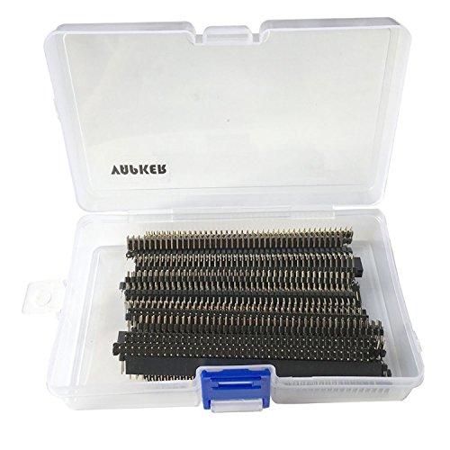 VAPKER, 2,54-mm-Leiterplatte mit 40-poligem Stecker und Buchse, Steckverbinder-Set für Arduino-Prototyp-Shield, zum Selbermachen, 40 Stück, mit Kunststoff-Box (je 5 Stück à 8 Teile)