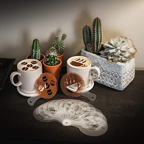 TRIXES 16-teiliges Set mit Kaffee-Weihnachtsschablonen für Cappuccino Latte Schoko Kaffee uvm - Verschiedene Designs Barista Kunst und Kuchen Dekoration Werkzeuge Weihnachten