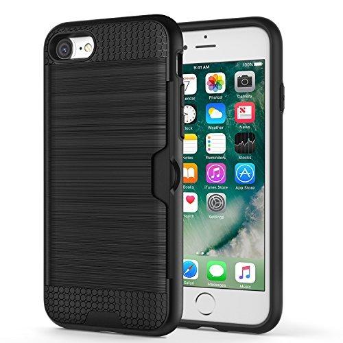 iPhone SE ケース 第2世代 ATiC iPhone SE カバー 新型 2020 iPhone 8/iPhone 7兼用 4.7インチ iPhone 9 ケース iPhone SE2 ケース スマホ保護カバー スマートフォンケース 衝撃吸収TPU 擦り傷防止なPC 二重構造 名刺カードスロット付き 精密なカットアウト 通気 持ちやすい Black