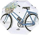 Ombrello manuale a tre pieghe Bicicletta blu acquerello con bel cesto di fiori Ombrello pieghevole nano impermeabile Protezione solare che copre sole e pioggia-Manuale