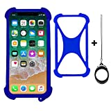 Zittop Universal Smart Phone Bumper Case Elastic Soft Silicone Cover for 5.2' Phones Size 4'' to 6.5'' inch Case (Blue)