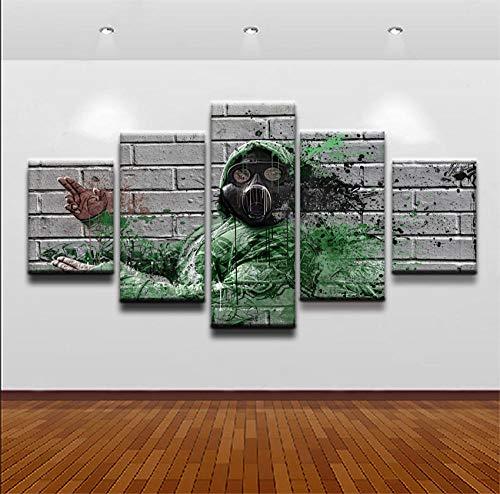 chgznb Leinwanddrucke Leinwand Hd Drucke Malerei Wandkunst Home Dekorative 5 Stücke Künstlerische Gasmaske Graffiti Mann Bilder Für Drucke auf Leinwand