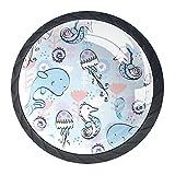 Simple Paint Dolphin Medusas Caballo de Mar, Tiradores de Cajón y Perillas para Aparador Set con Tornillos Cristal Gabinete Tirador Tirador Manija de Cocina Puerta Armario Hardware (4 unidades)