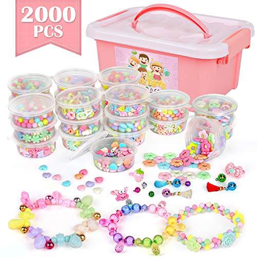 DIY Perlen Zum Auffädeln, 2000 Stück Schmuck Basteln Armband Mädchen Bunte Perlen Set, Perlenschmuck Ketten Basteln für Kinder