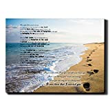 CAPTIVATE HEART Footprints in The Sand Poem,Beach Poster Canvas Prints 12x16in,Paintings Inspirational Beach Wall Decor,Living Dining Room Bedroom Framed Picture Wall Sand Art