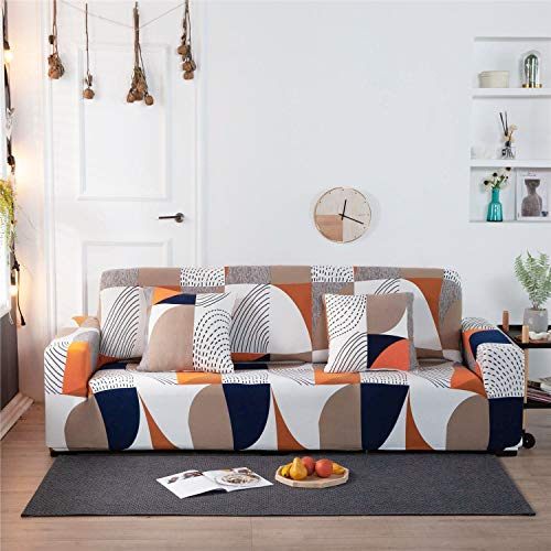Stretch Slipcover Fitted Furniture Protector Print Sofa Cover Stylish Couch Cover with 2 Pillow Cases for Loveseats/Sofas/Sectional Couches,4 Seater-Colorful Geometry