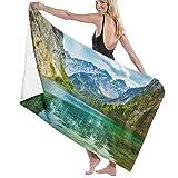 Toalla de baño Mountain Lake en Alpes. Bavaria Germany 100% Toallas de Fibra extrafina de Secado rápido Muy absorbentes para Uso Diario baño SPA Viajes 32 'x52'