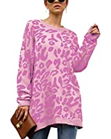 ECOWISH Women's Oversized Leopard Print Sweater Long Sleeve Casual Camouflage Print Knitted Jumper Pullover Sweatshirts Tops Pink Small