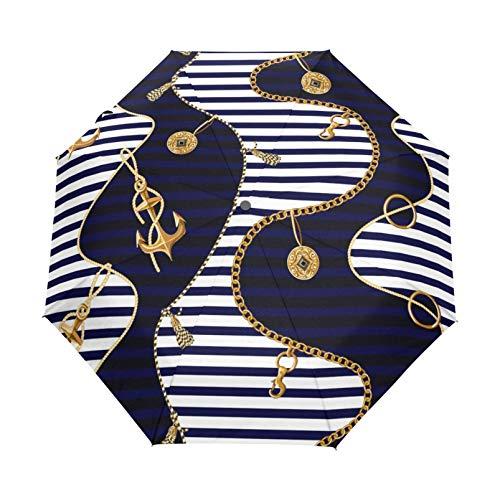 RELEESSS Reise-Regenschirm mit Anker-Muster, kompakt, winddicht, tragbar, Regenschirm für Damen und Herren, Unisex