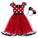 Toddlers Girls' Polka Dots Birthday Princess Leotard Party Cosplay Pageant Fancy Costume Tutu Dress Up Mouse Ears Headband Black+Red(B) 4-5 Years