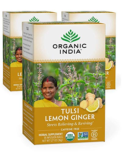 Organic India Tulsi Lemon Ginger Herbal Tea - Stress Relieving & Reviving, Immune Support, Aids Digestion, Vegan, USDA Certified Organic, Non-GMO, Caffeine-Free - 18 Infusion Bags, 3 Pack