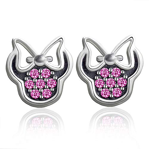 Elensan - Pendientes de plata de ley 925 con cristales rosas para mujeres, adolescentes, niñas, Minnie