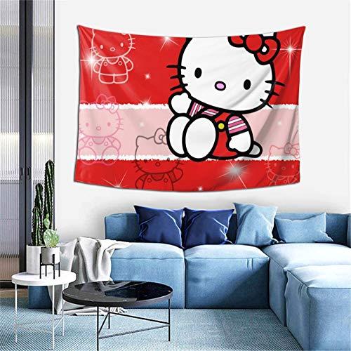 Tapiz de anime de Hello Kitty con diseño de gato rojo, para colgar en la pared, dormitorio, sala de estar, decoración de decoración de decoración de tapicería, 60 x 40 pulgadas
