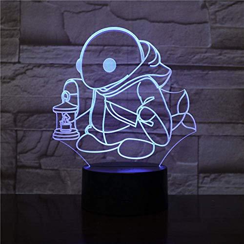 Lámpara de ilusión 3D Luz de noche LED Decoración del hogar Tortuga creativa Lámpara de escritorio de modelado de tortuga Juego de animación Interruptor táctil acrílico para niños